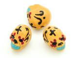 Yellow Sugar Skull Painted Ceramic Bead 12mm - Peru (CER82)