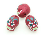 Fuchsia Sugar Skull Painted Ceramic Bead 12mm - Peru (CER83)