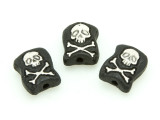 Skull & Crossbones Painted Ceramic Bead 12mm - Peru (CER87)
