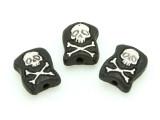 Skull & Crossbones Painted Ceramic Bead 12mm - Peru (CER87)