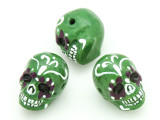 Green Sugar Skull Painted Ceramic Bead 22mm- Peru (CER90)