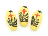 Yellow Coffin Painted Ceramic Bead 27mm - Peru (CER97)