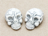 Gray Ornate Skull Ceramic Bead 28mm - Peru (CER107)