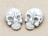 Gray Ornate Skull Ceramic Bead 28mm - Peru (CER107)