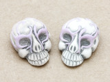 Lilac Ornate Skull Ceramic Bead 28mm - Peru (CER111)