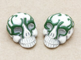 Green Ornate Skull Ceramic Bead 28mm - Peru (CER113)