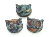 Owl Raku Ceramic Bead 25mm - Peru (CER117)