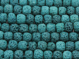 Teal Rondelle Lava Rock Beads 10mm (LAV134)