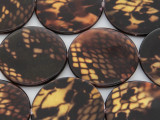 Brown Snakeskin Round Printed Shell Beads 30mm (SH531)