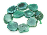 Green Agate Slab Gemstone Beads 32-41mm (AS858)