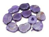 Purple Agate Slab Gemstone Beads 31-40mm (AS879)