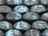 Black & Metallic Blue Ellipsoid Resin Beads 23mm (RES619)