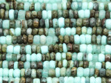 Peruvian Blue Opal Faceted Rondelle Gemstone Beads 5-6mm (GS4119)