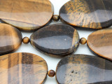 Tiger Eye Oval & Teardrop Tabular Gemstone Beads 22-37mm (GS4137)