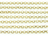 "Brass Plated Iron Rolo Chain 3.5mm - 36""  (CHAIN93)"