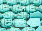 Turquoise Howlite Buddha Head Gemstone Beads 20mm (GS4193)