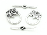 Pewter Flower Toggle Clasp 31mm (PB830)