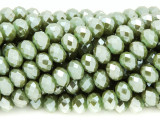 Metallic Sage Green Crystal Glass Beads 8mm (CRY265)