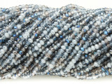 Blue, White & Clear Crystal Glass Beads 2mm (CRY315)