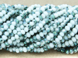 White & Green Crystal Glass Beads 4mm (CRY328)