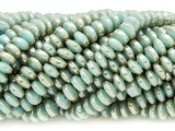 Olive & Aqua Saucer Crystal Glass Beads 6mm (CRY384)