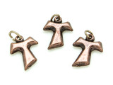 Copper Metal Franciscan Cross Pendant - 13mm (SF13)
