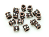Pewter Bead - Copper Jeweled Barrel 7mm (PB848)