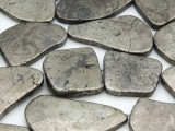 Iron Pyrite Slab Gemstone Beads 22-40mm (GS4299)