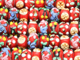 Red w/Multi-Color Flowers Lampwork Glass Beads 14mm (LW1590)