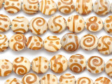 Tan w/Swirls Lampwork Glass Beads 12mm (LW1591)