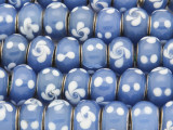 Blue w/White Dots & Flowers Lampwork Glass Beads 13mm (LW1592)