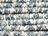 Tube w/Dragons 16-18mm - Glazed Blue & White Porcelain Beads (PO402)