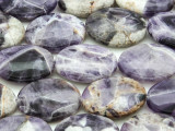 Chevron Amethyst Oval Tabular Gemstone Beads 25mm (GS4386)
