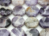 Chevron Amethyst Round Tabular Gemstone Beads 20mm (GS4388)