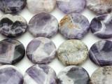 Chevron Amethyst Round Tabular Gemstone Beads 20mm (GS4388)