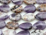 Chevron Amethyst Teardrop Tabular Gemstone Beads 20mm (GS4389)