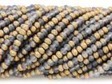 Matte Gold & Silver Crystal Glass Beads 4mm (CRY433)