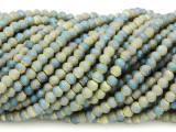 Matte Teal & Yellow Crystal Glass Beads 4mm (CRY434)