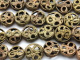 Ornate Brass Round Tabular Beads 16-20mm - Ghana (ME5700)