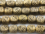 Ornate Brass Cube Beads 15-18mm - Ghana (ME5702)