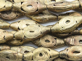 Ornate Brass Oval Tabular Beads 31-38mm - Ghana (ME5704)