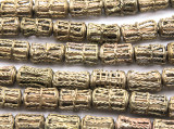 Ornate Brass Cylinder Beads 16-20mm - Ghana (ME5708)