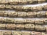 Ornate Brass Cylinder Beads 16-20mm - Ghana (ME5708)