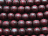 Cranberry Red Round Wood Beads 12mm (WD944)
