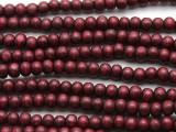 Cranberry Red Irregular Round Wood Beads 6mm (WD948)
