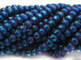 Dark Blue Metallic Stripe Crystal Glass Beads 8mm (CRY447)