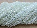 White Metallic Stripe Crystal Glass Beads 8mm (CRY448)