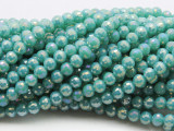 Metallic Turquoise Round Crystal Glass Beads 6mm (CRY461)