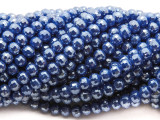 Blue Round Crystal Glass Beads 6mm (CRY464)