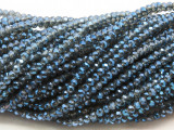 Slate Blue & Clear Crystal Glass Beads 2mm (CRY473)